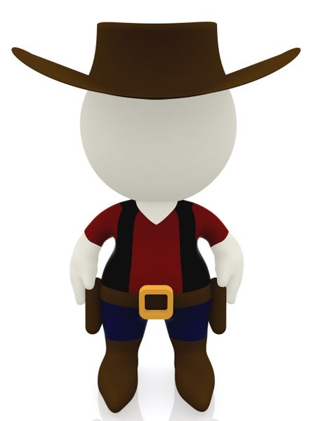 3D cowboy - isolated over a white background