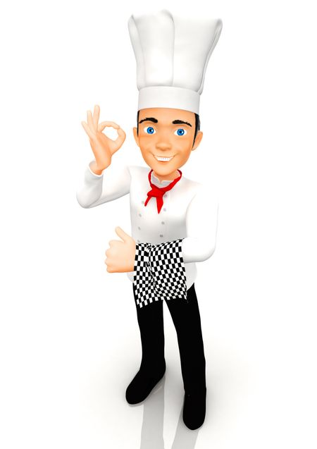 3D Chef with a hat, smiling - isolated over a white background