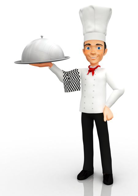 3D Chef holding a silver tray - isolated over a white background