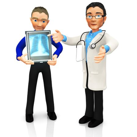 3D doctor looking at an x-ray of a patient - isolated over a white background