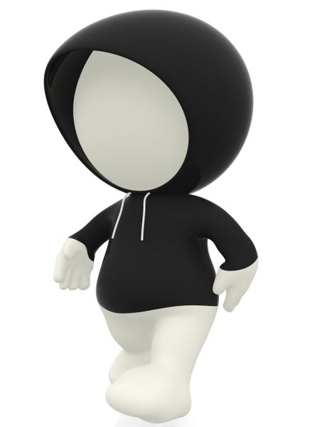 3D man with a black hoodie - isolated over white