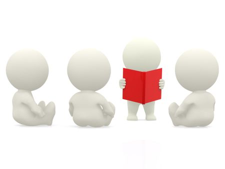 3D person reading stories to others from a book - isolated