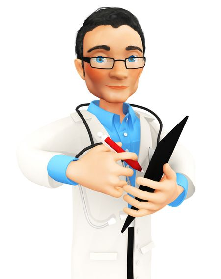3D doctor taking notes on a clipboard - isolated over a white background