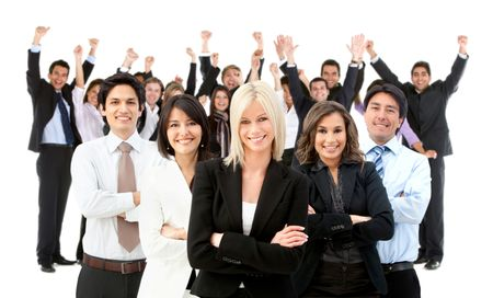 Large and very happy business group - isolated over a white background