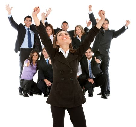 Business woman leading a successful team with arms up ? isolated