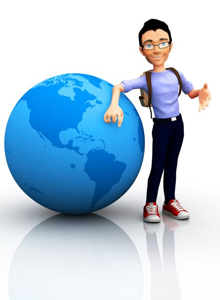 3D worldwide traveler with the globe and a backpack - isolated