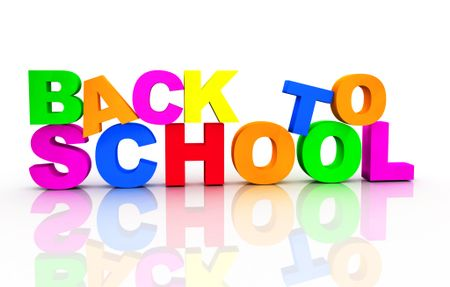 3D 'Back to school' sign ? isolated over a white background