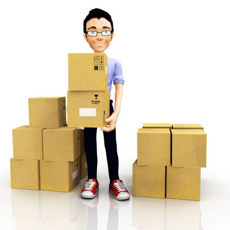 3D man moving house and carrying boxes ? isolated