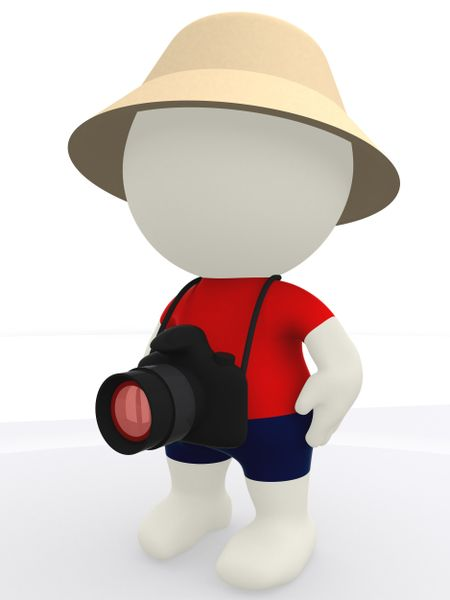 3D tourist with a digital camera and a hat - isolated