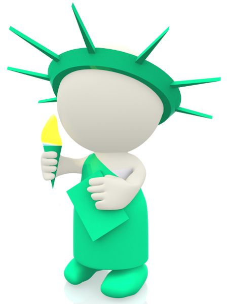 3D statue of liberty - isolated over a white background