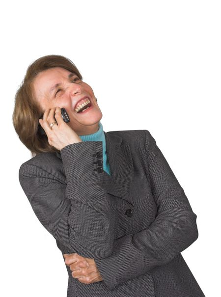 business woman on the phone laughing loud
