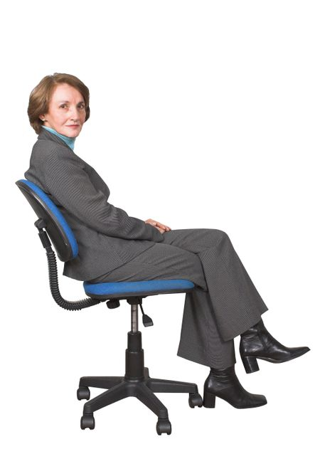 business woman on a chair over white