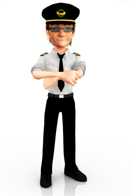 3D pilot in his uniform - isolated over a white background