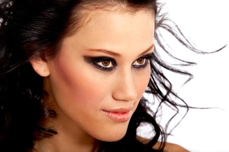 beautiful fashionable face with outstanding eyes and heavy
