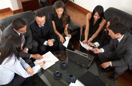 business meeting of young entrepreneurs in an office