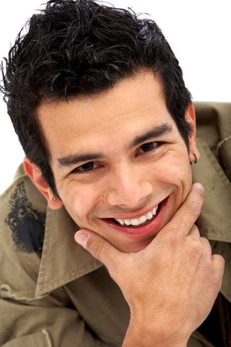 caucasian casual man portrait smiling with his hand on his chin - isolated over a white background