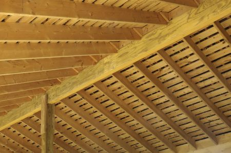 Joint effort: Roof rafters in barn