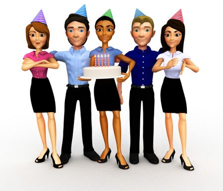 3D Business group celebrating a birthday, anniversary or promotion - isolated