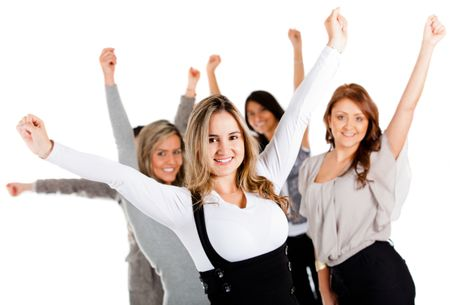 Group of successful business women with arms up - isolated