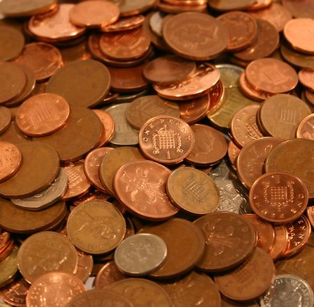 lots of british 1 pence and 2 pence coins