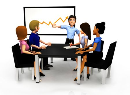 3D Group in a meeting looking at the growth of the business in a graph - isolated