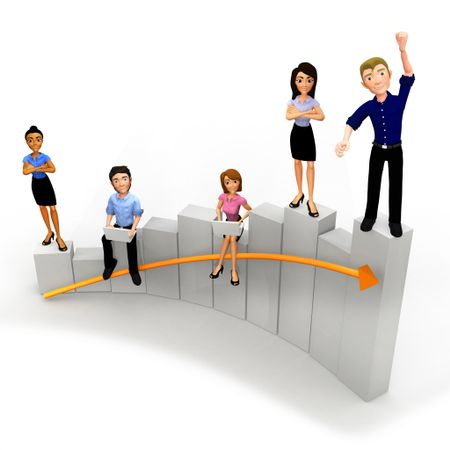 3D Group of the business people standing on a growth graph â?? isolated