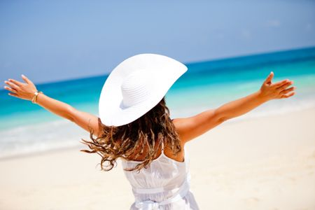 Woman enjoying her summer holidays at paradise