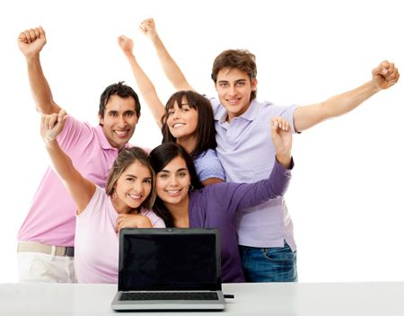 Group of young people celebrating their online success - isolated over white