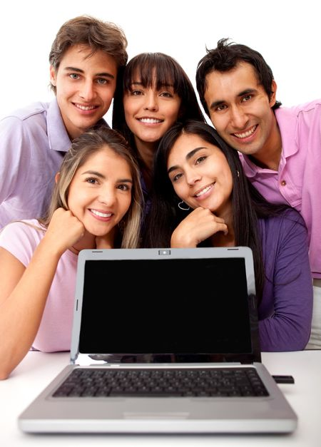 Group of young people with laptop - isolated over a white background
