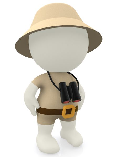 3D explorer going on a safari and weaing a hat - isolated