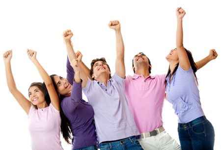 Happy group of friends with arms up - isolated over a white background