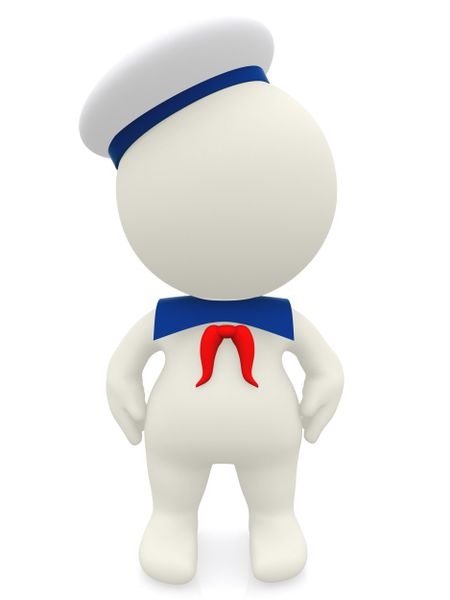 3D sailor cartoon in uniform - isolated over a white background