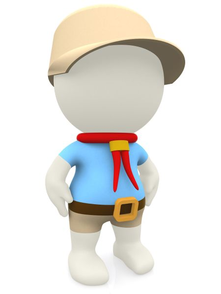 3D cartoon boy scout - isolated over a white background