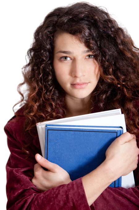 Young female student holding notebooks - isolated over a white background