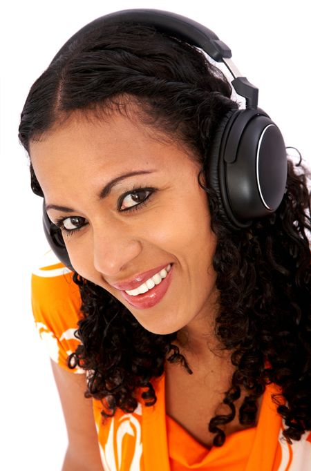black girl listening to music looking happy over white
