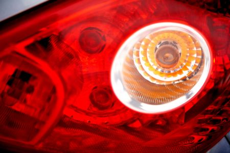 car brake light in red and white glass