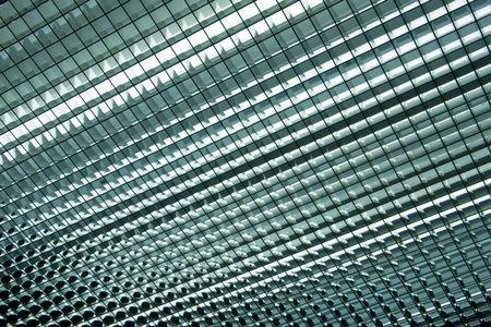 Medium close-up of hallway ceiling