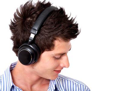 guy listening to music looking happy over white