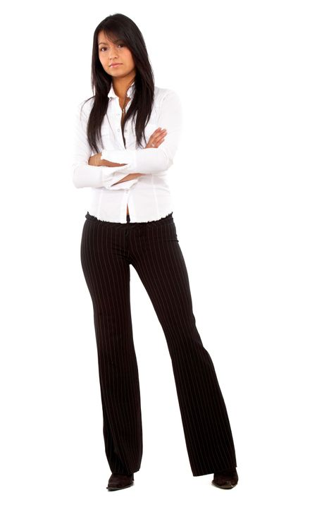 business woman standing isolated over a white background