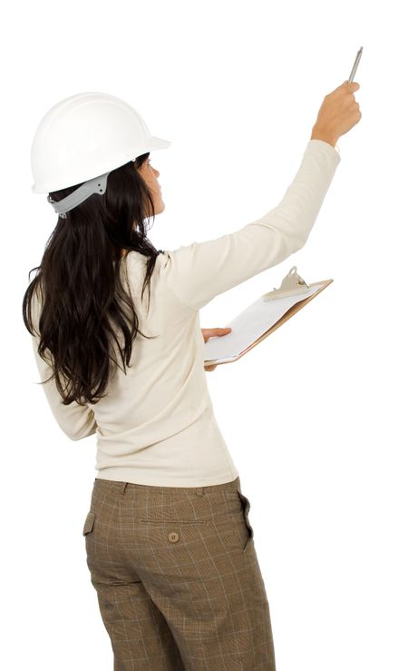 woman architect isolated over a white background