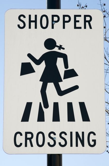 Sign for motorists and pedestrian shoppers