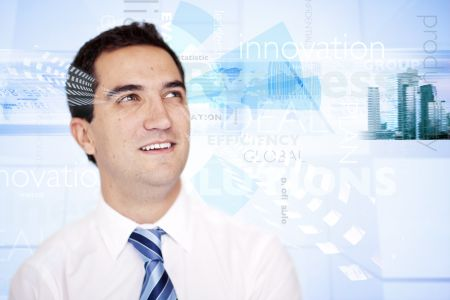 Successful business man with global graph at the backgrund