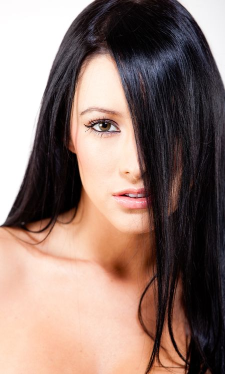 Beautiful woman with straight black hair - beauty concepts