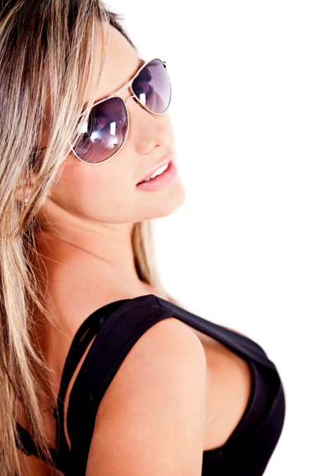 Beautiful woman with sunglasses - isolated over a white background