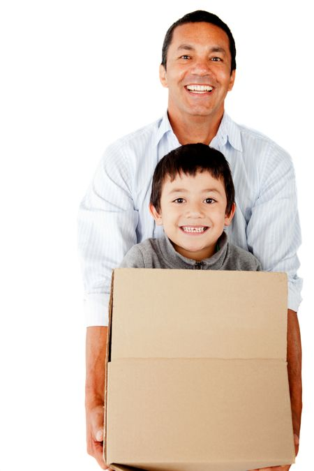 Man moving house and packing his family - isolated over a white background