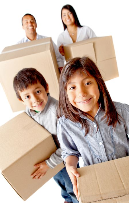 Family packing in boxes for moving home - isolated over a white background