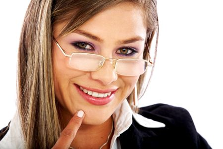 business woman portrait smiling and wearing glasses isolated over a white background