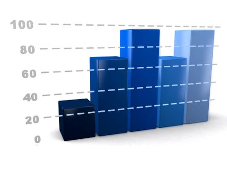 3D business graph showing development - isolated over a white background