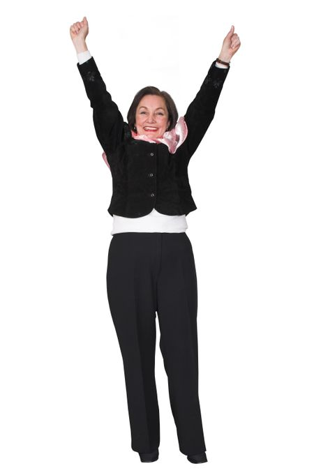 business woman with arms up representing success - happiness