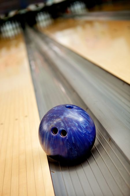 Bowling ball going into the canal after a bad shot